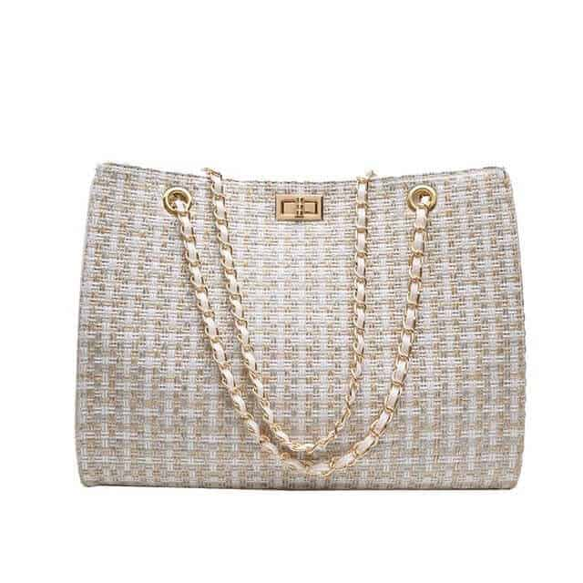 Tweed chanel canvas tote dupe.
