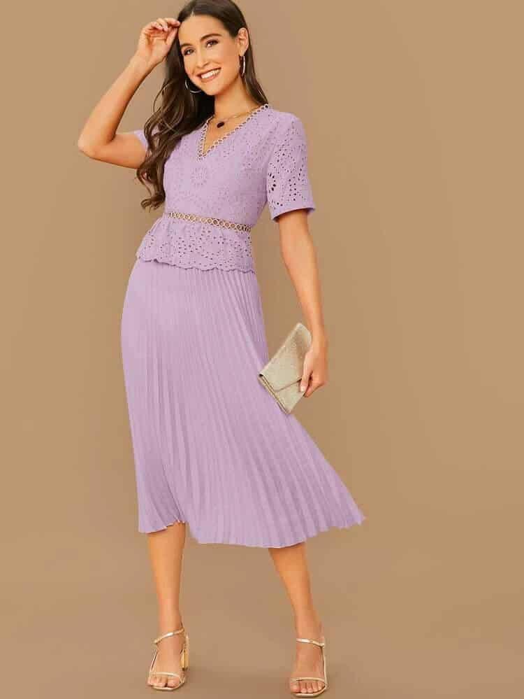 Purple Midi Wedding Guest Dress