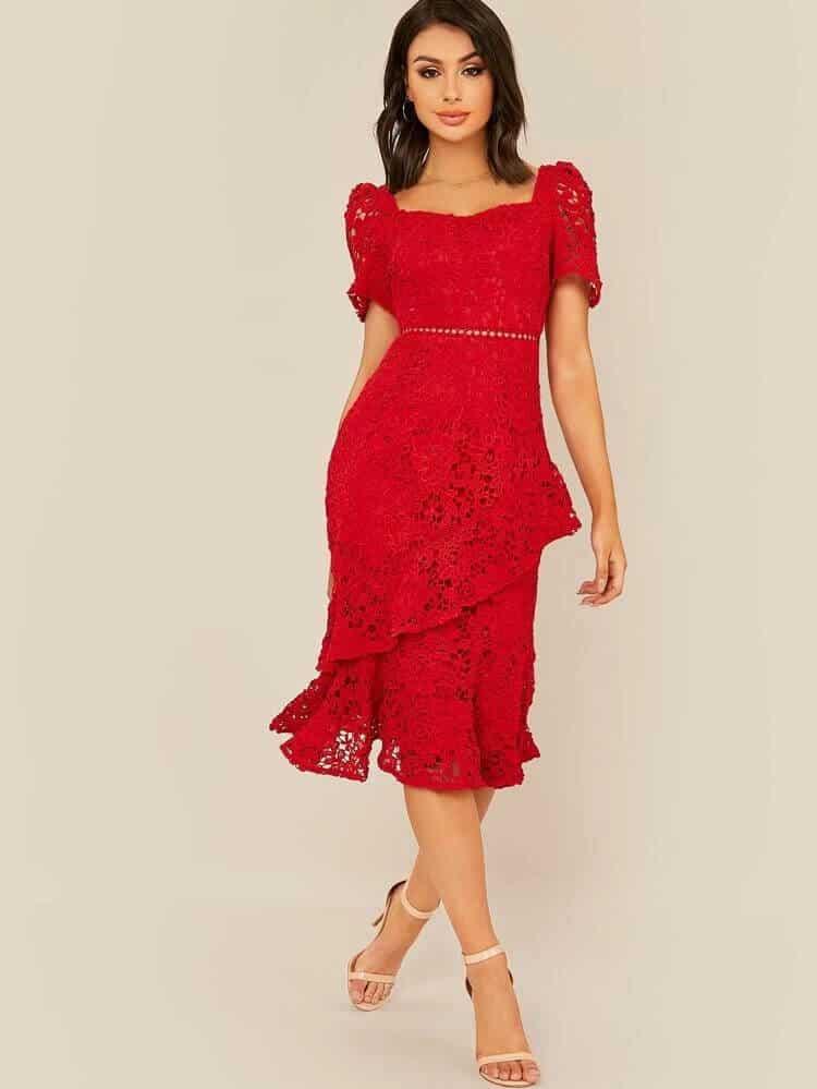 Lace Knee Length guest dress