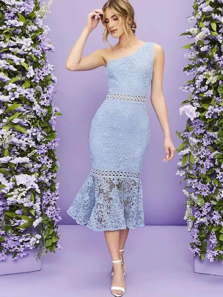 One Arm Lace dress wedding guest dress