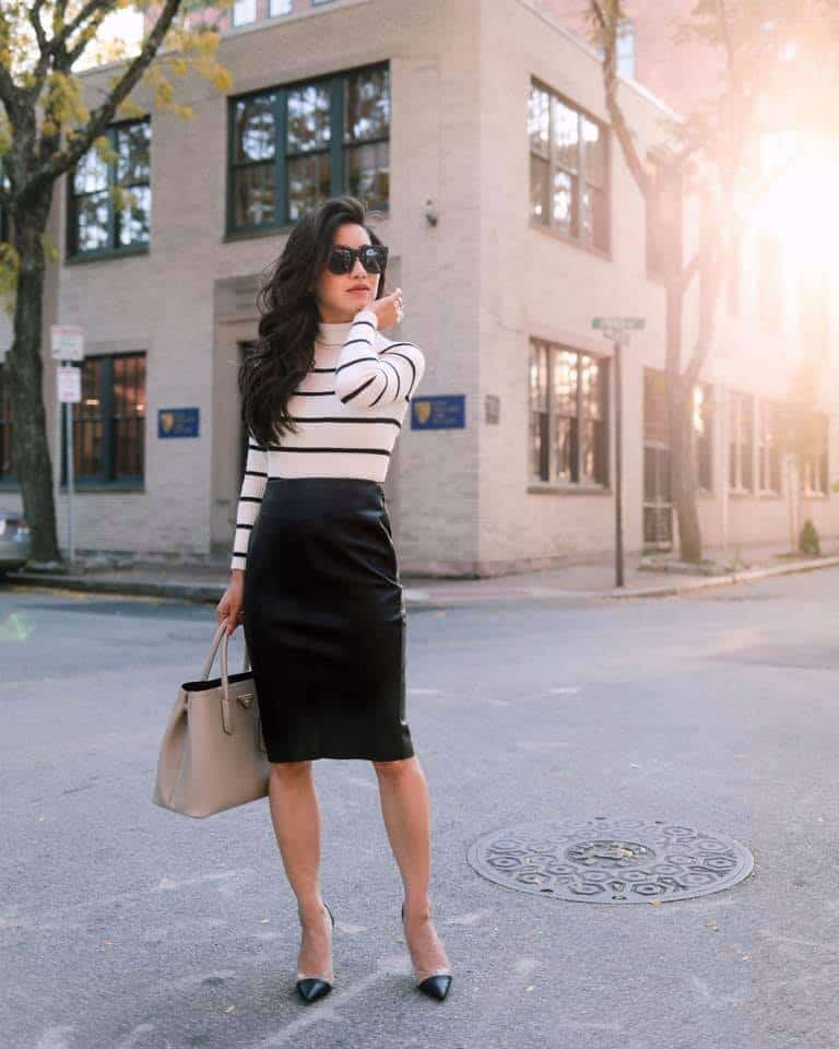 Fall fashion - Long sleeve striped top with black pencil skirt.
