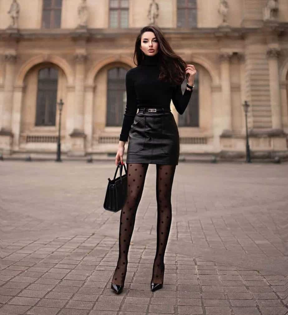Fall Outfits - Turtle neck long sleeve top with black mini leather skirt, black dotted panty hoes, and black heels.