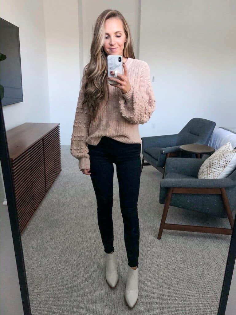 Fall Outfit - sweater top with jeans and ankle boots/booties.