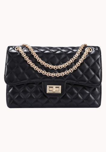 Black chanel flag bag dupe with gold chain.