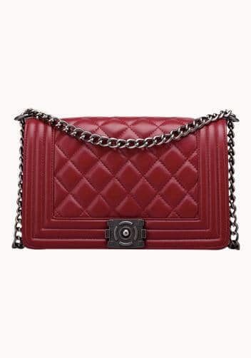 Red quilted chanel boy bag look alike.