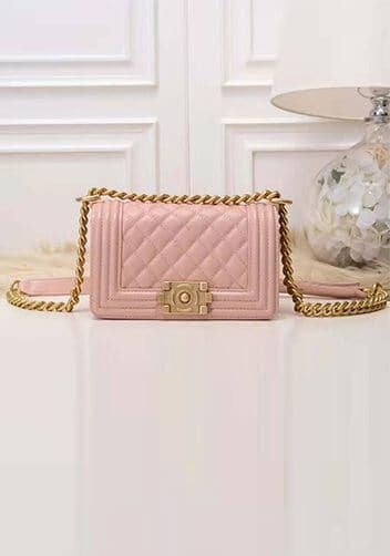 Pink quilted chanel boy bag look alike.
