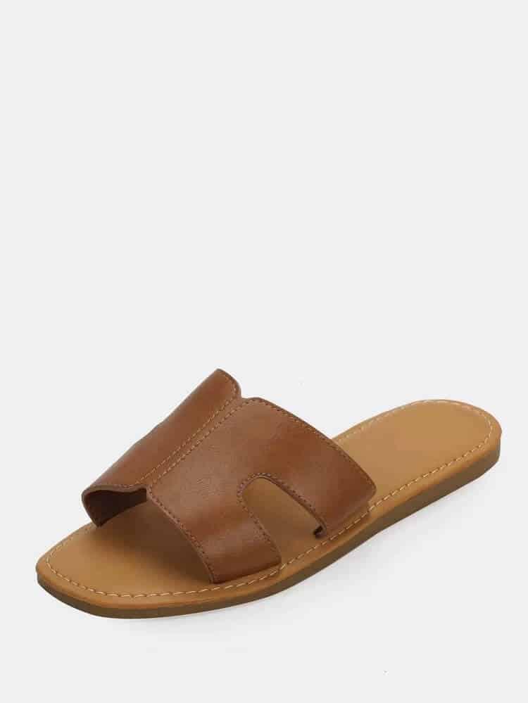 Brown hermes sandals look alike knock off.