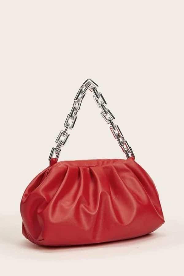 Red bottega veneta chain pouch dupe.