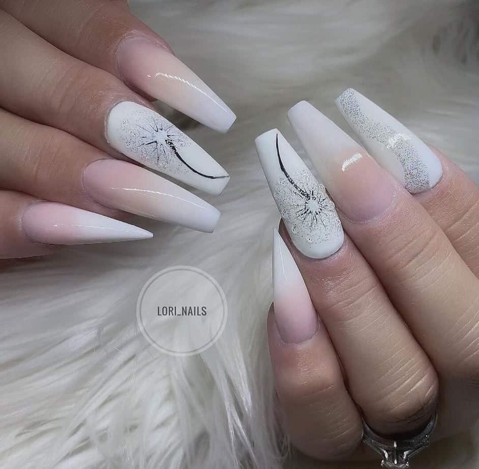 white pretty nail designs