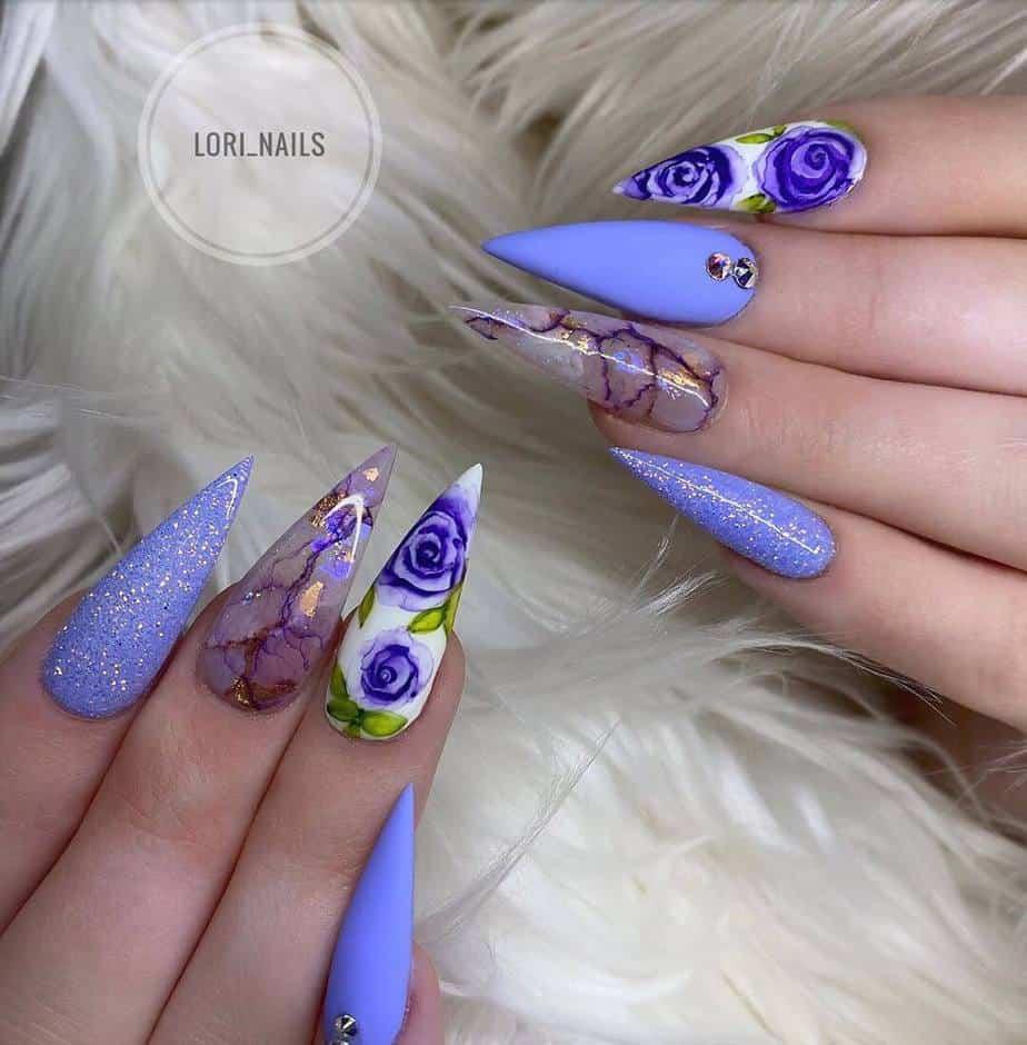 purple pretty nail designs for spring