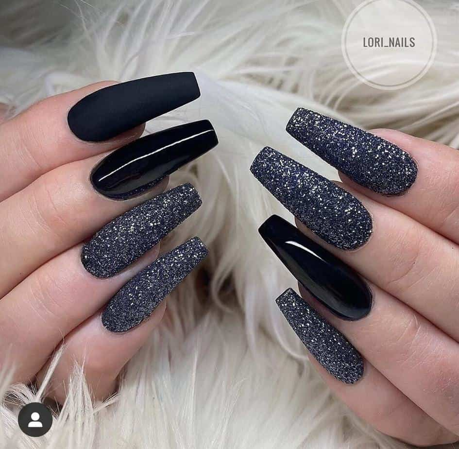 Black pretty nail designs simple