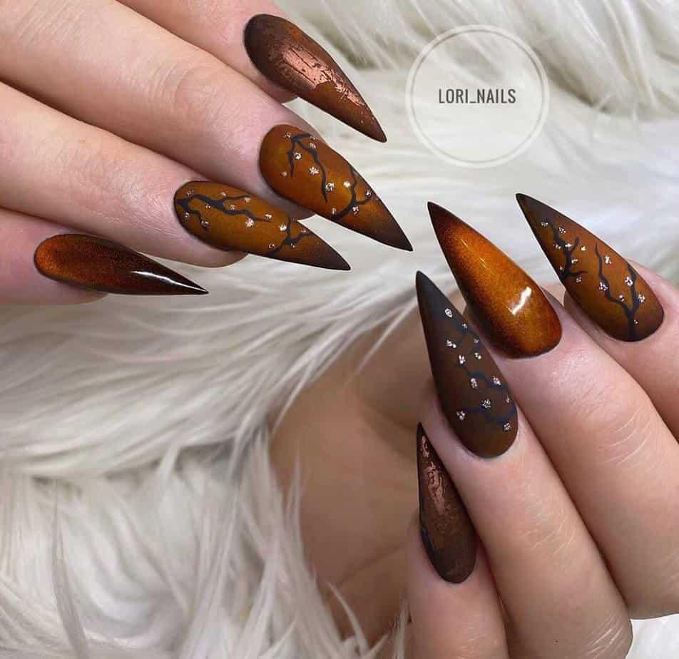 Brown pretty nail designs