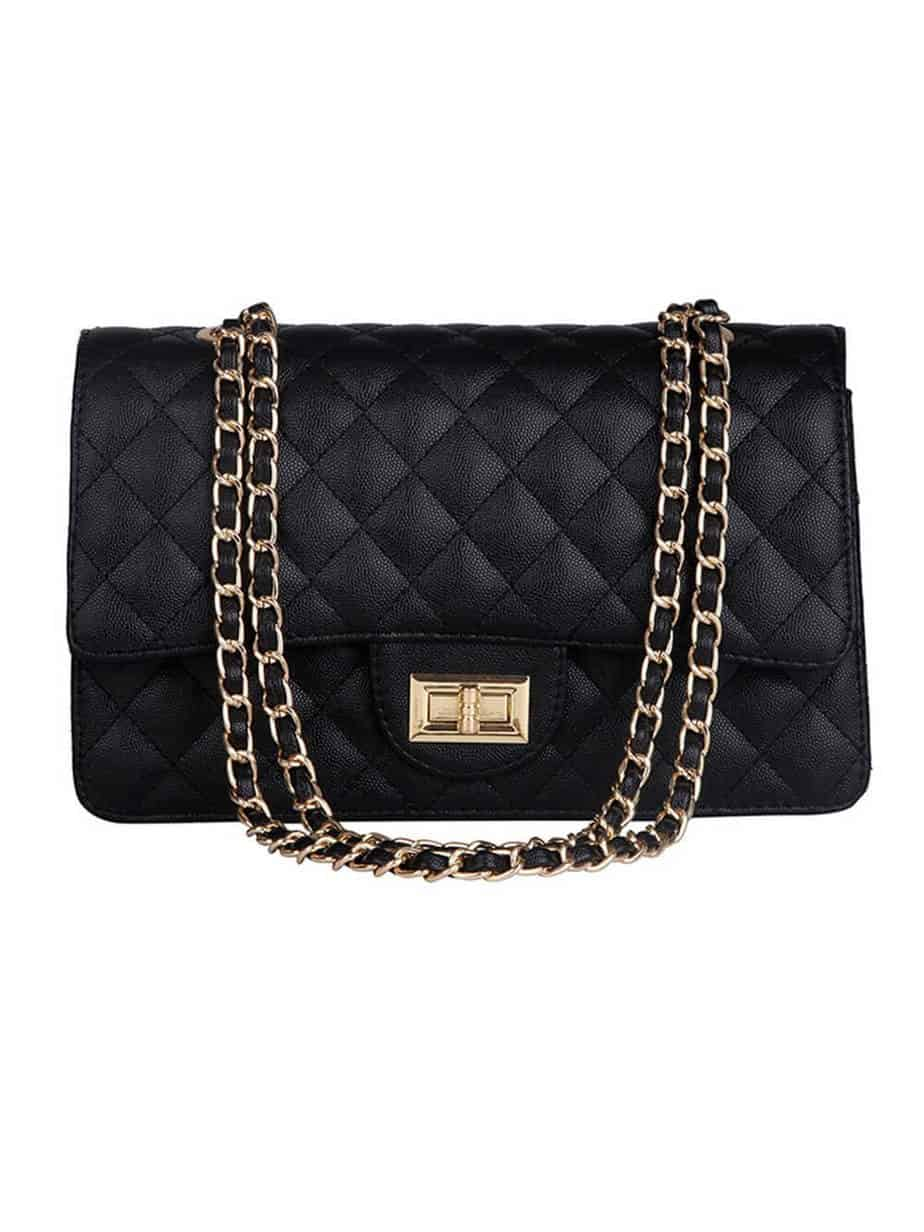 Black quilted chanel flap bag dupe.
