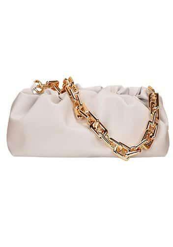 White Bottega pouch dupe with gold chain or Veneta Bag .