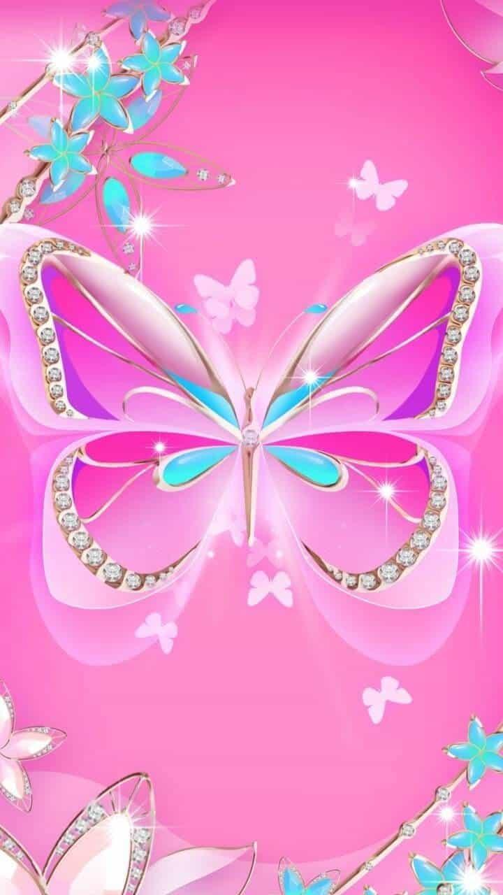 Pink Beautiful butterfly wallpaper