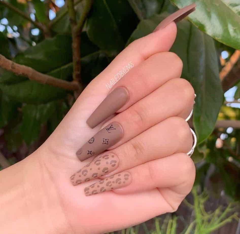 brown louis vuitton nail designs