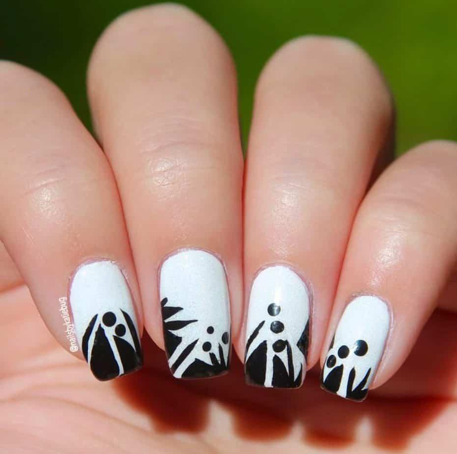 black and white nails art