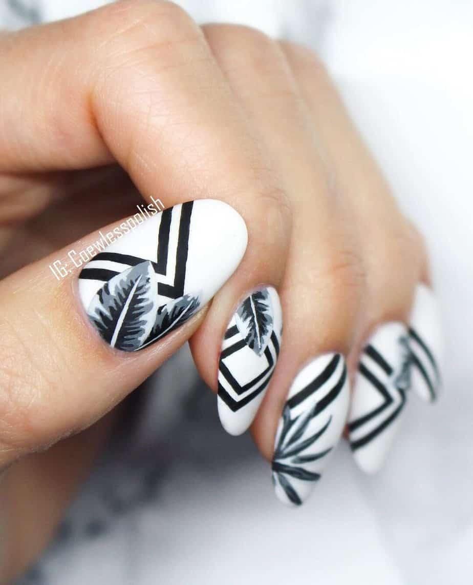 black and white nails acrylic