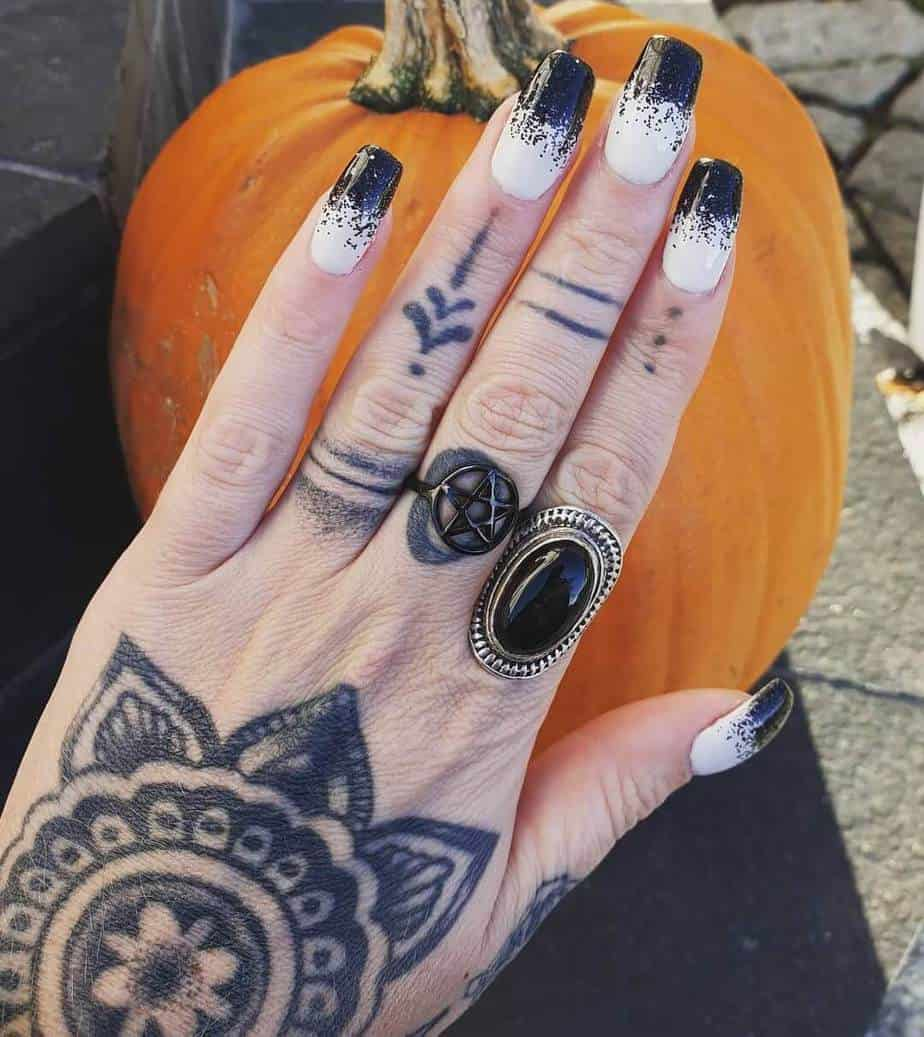 black and white nails coffin