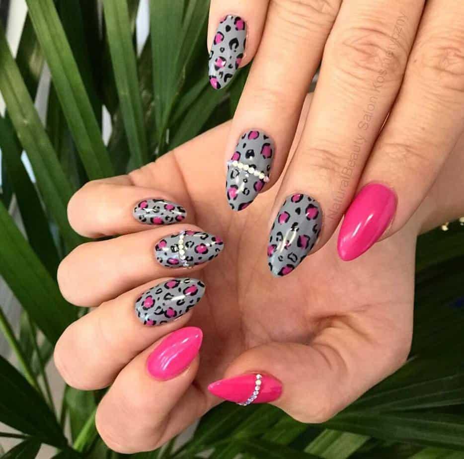 pink and grey nails cute