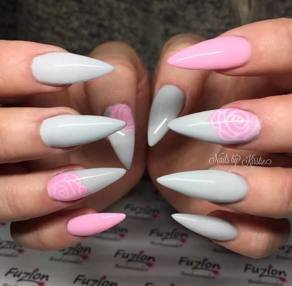 pink and grey nails designs