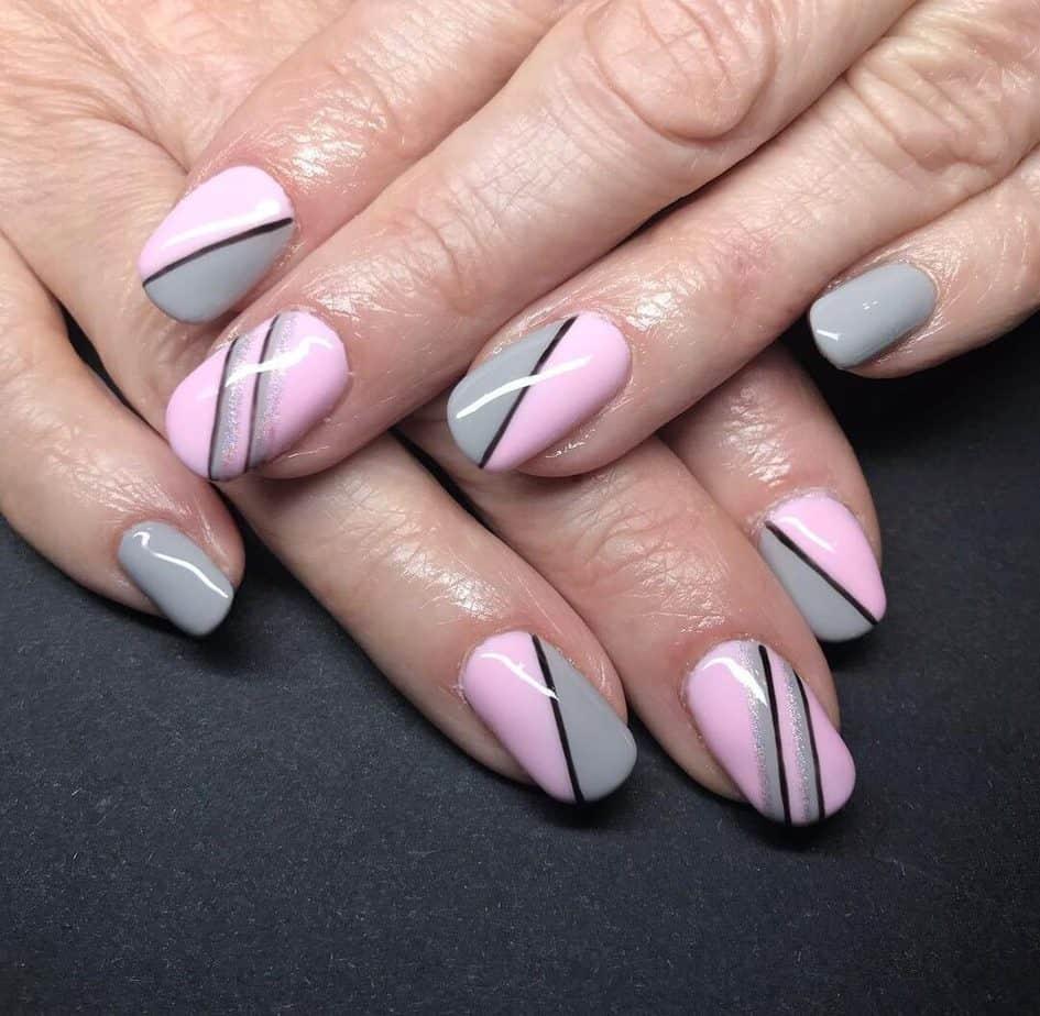 pink and grey nails short