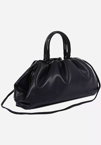 Medium Black bottega veneta the pouch dupe with handle and a long strap.