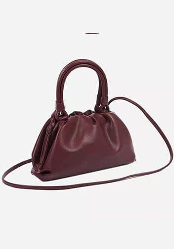 Mini Burgundy bottega veneta the pouch dupe with handle and a long strap.