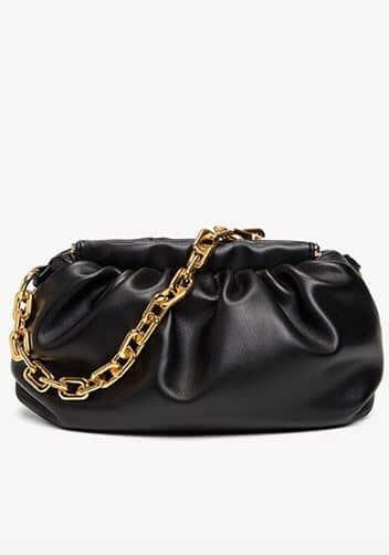 Black Bottega pouch dupe with gold chain or Veneta Bag .