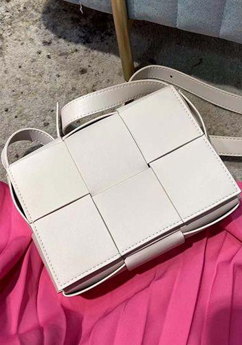 White cassette bag dupe in bottega dupe bag.