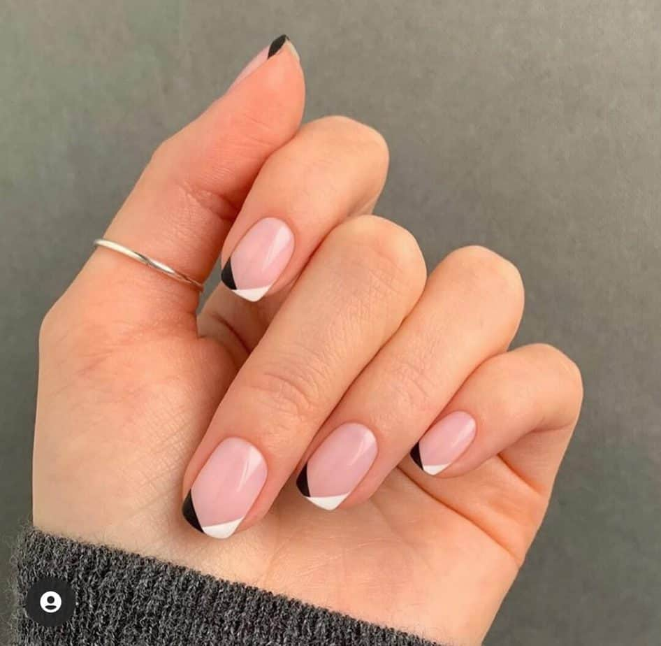 black and white nails tips