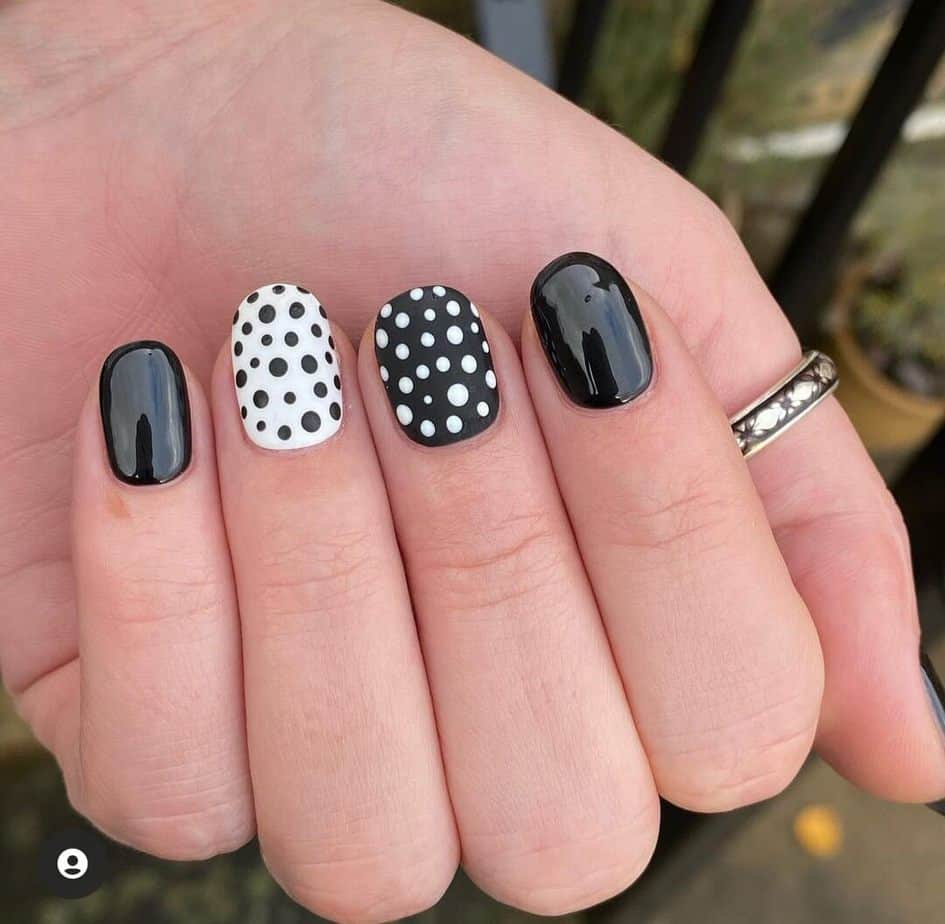 black and white nails easy