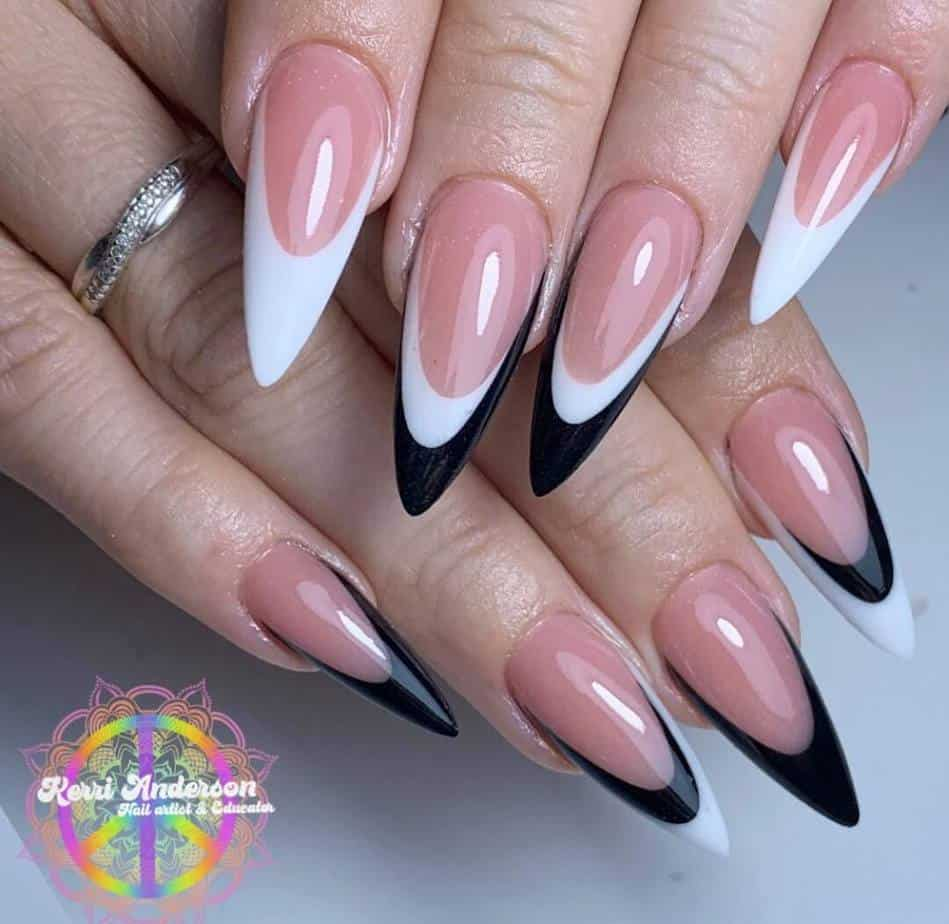black and white nails designs