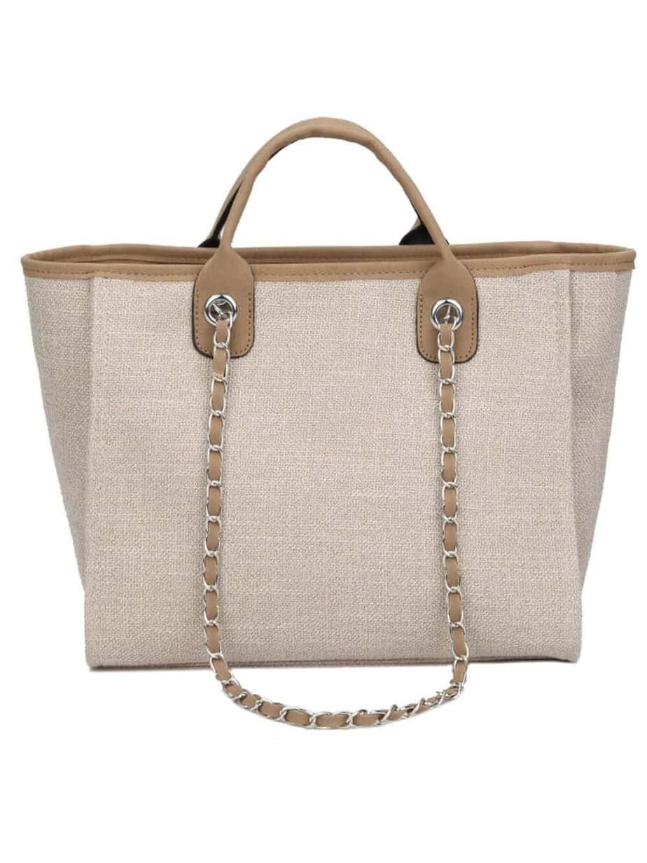 Brown chanel deauville tote look alike canvas dupe.