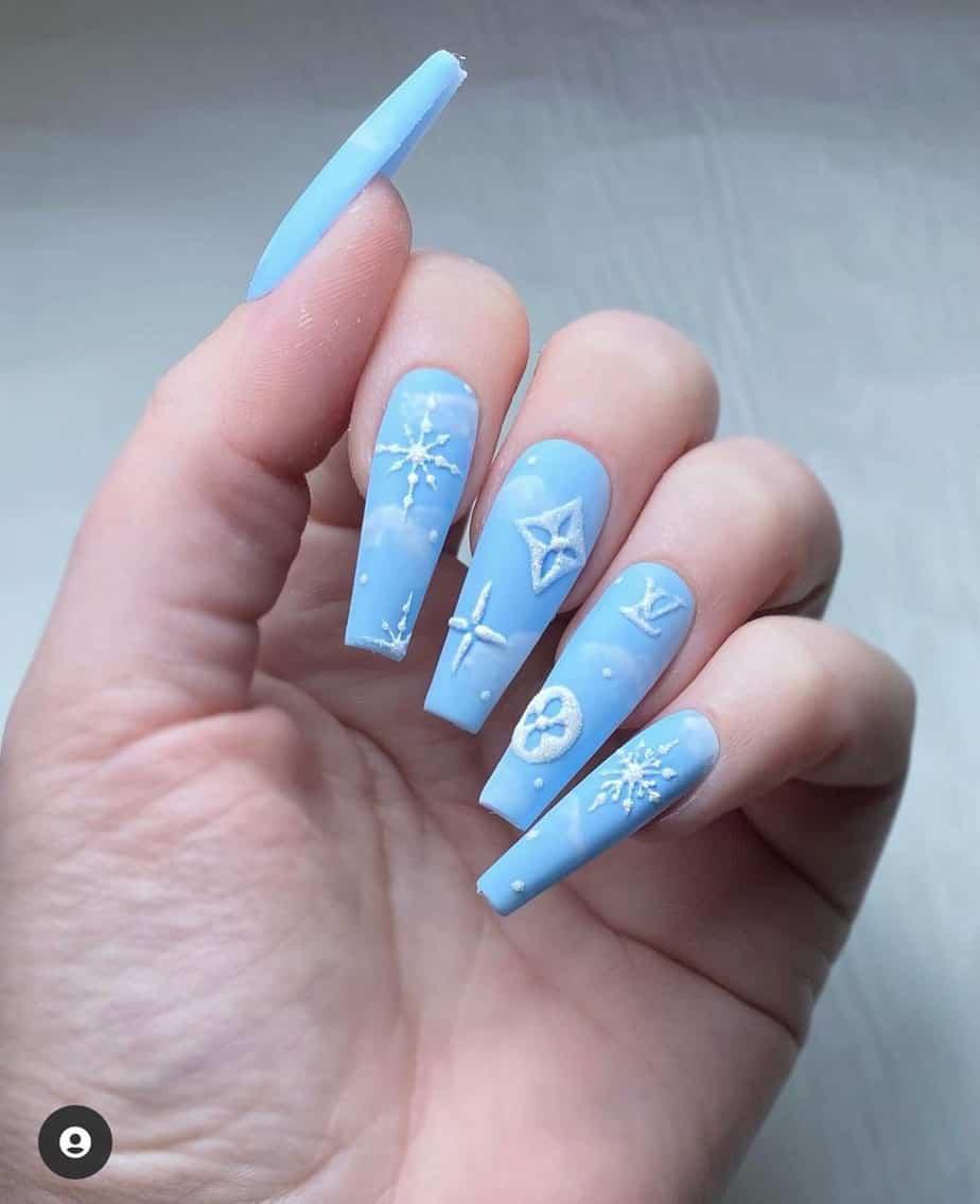 blue louis vuitton nail designs lv