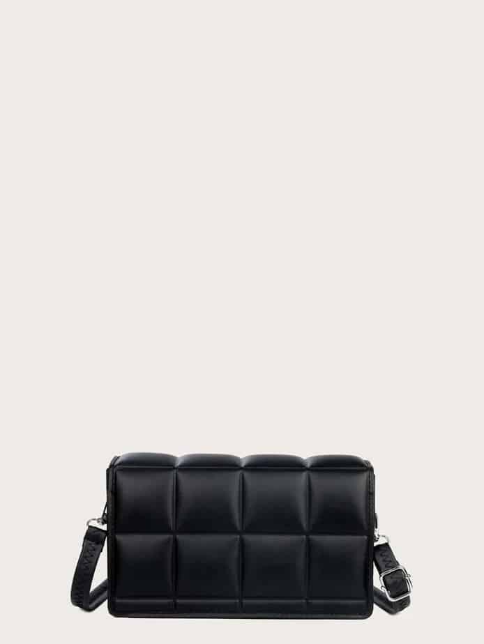 Black cassette bottega look alike bag.