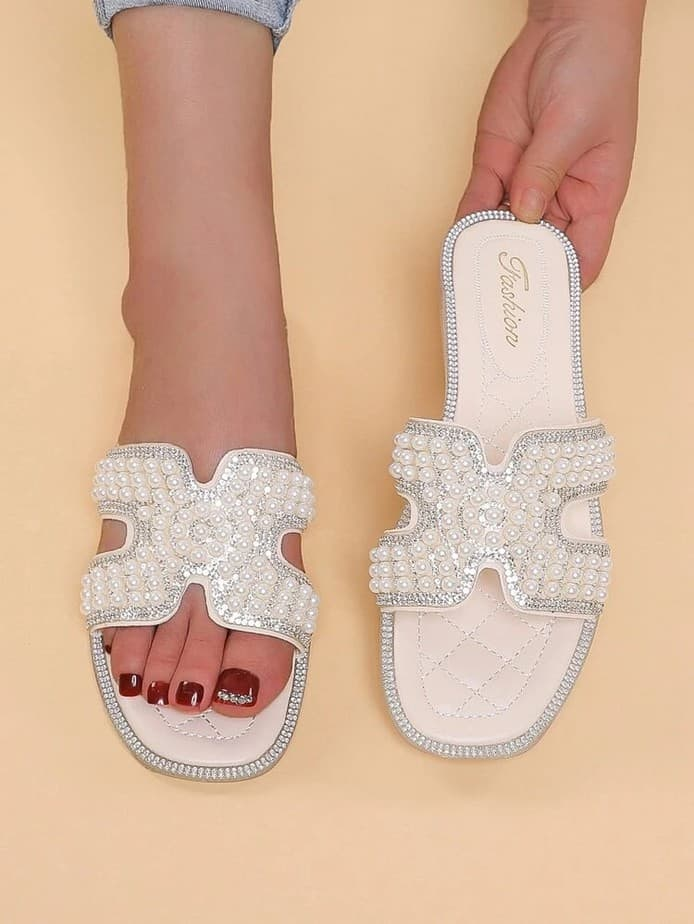 White sequins h sandals dupes oran sandal dupes.