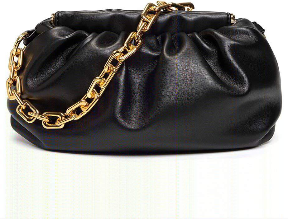 Black bottega veneta pouch dupe amazon with chain for look alike bag.
