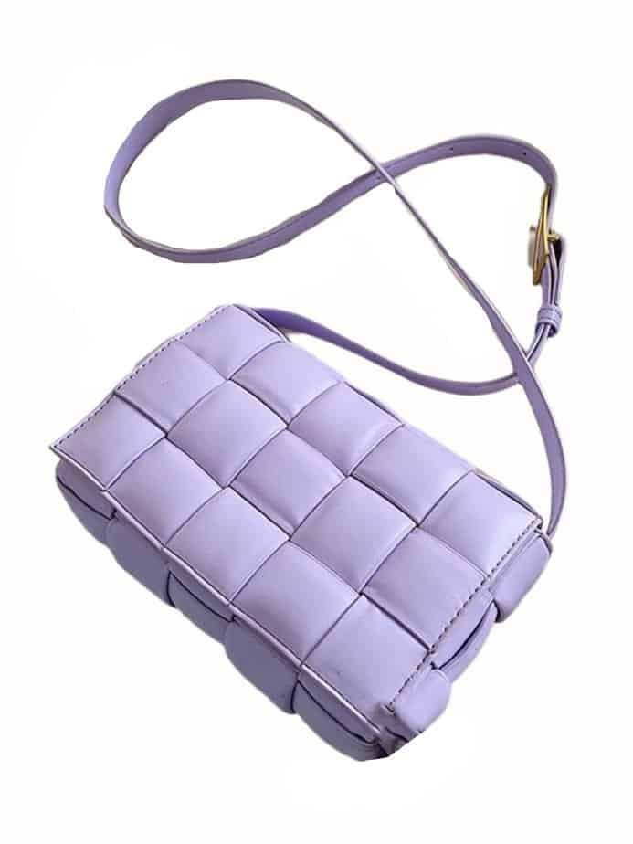 Purple bottega veneta padded cassette bag dupe.